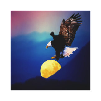Bald eagle chases the full moon large canvas print