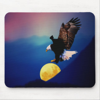 Bald eagle chases the full moon mouse pad