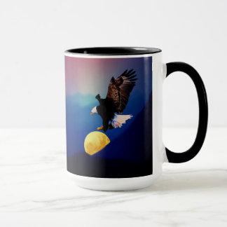 Bald eagle chases the full moon mug