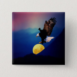 Bald eagle chases the full moon pinback button
