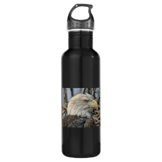 Bald Eagle Close-Up Water Bottle