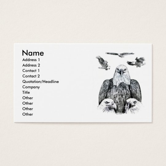 Bald Eagle Collage Pencil drawing sketch Business Card