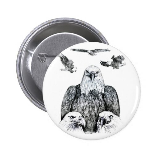 Bald Eagle Collage Pencil drawing sketch 2 Inch Round Button