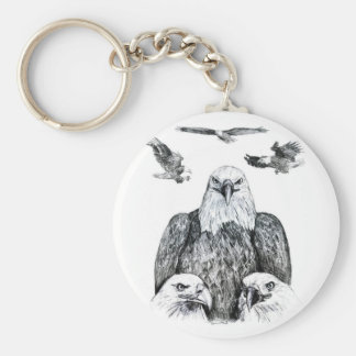 Bald Eagle Collage Pencil drawing sketch Keychains