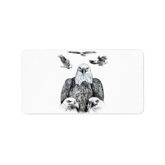 Bald Eagle Collage Pencil drawing sketch Personalized Address Label