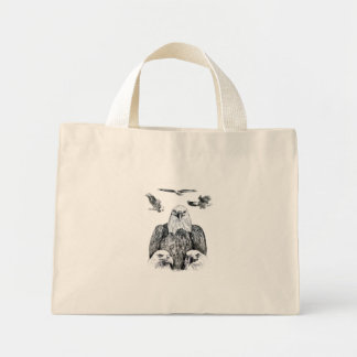 Bald Eagle Collage Pencil drawing sketch Mini Tote Bag