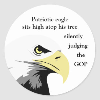 Bald Eagle Commentary on Modern Politics Classic Round Sticker