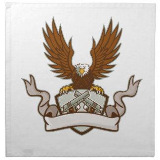 Bald Eagle Crossed 45 Caliber Pistols Shield Retro Napkin