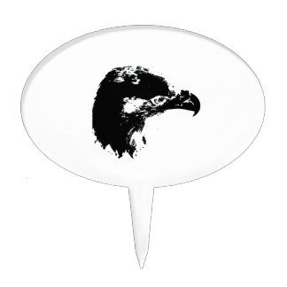 bald eagle cutout black cake pick