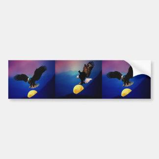 Bald eagle descends onto the moon bumper sticker