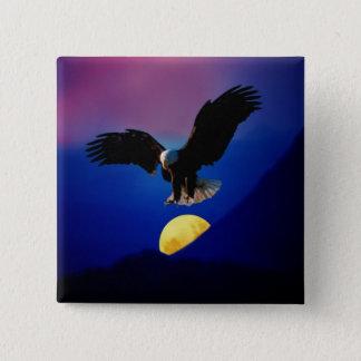 Bald eagle descends onto the moon pinback button