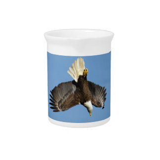 Bald Eagle diving towards the water Drink Pitchers