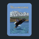 """Bald Eagle Diving - West Yellowstone, MT Magnet<br><div class=""""desc"""">Bald Eagle Diving - West Yellowstone,  MT - Vintage Travel Poster was created in 2007. This image depicts scenes from West Yellowstone,  MT.</div>"""