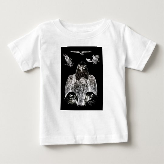 Bald Eagle Drawing, Inversion of Pencil drawing Baby T-Shirt