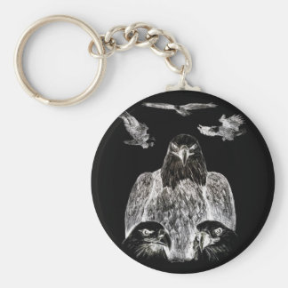 Bald Eagle Drawing, Inversion of Pencil drawing Keychain