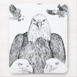 Bald Eagle Drawing Mouse Pad