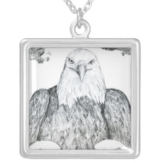 Bald Eagle Drawing Square Pendant Necklace