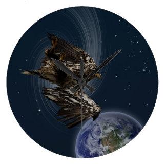 Bald Eagle Earth Planets Fantasy Wall Clock