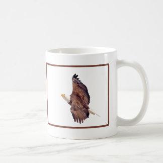 Bald Eagle Eyes To the Sky Brown Border Coffee Mug