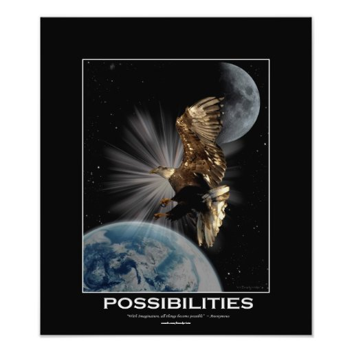 Bald Eagle  Fantasy Motivational Art Print