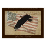 BALD EAGLE & FLAG Patriotic Poster with Quote