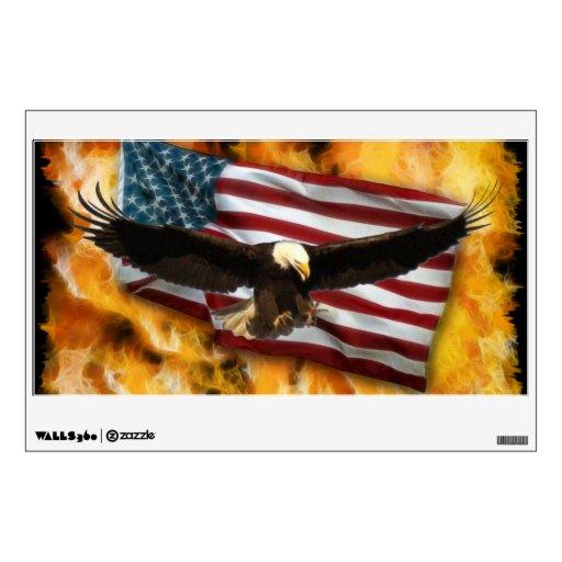 Bald Eagle, Flames & Flag Patriotic Art Wall Decal