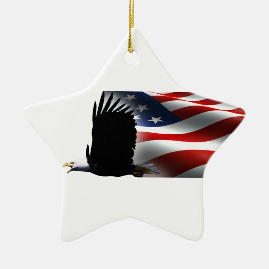 Bald Eagle Flies the Flag 4th of July Ceramic Ornament