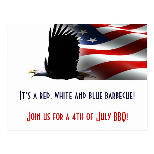 Bald Eagle Flies the Flag 4th of July Postcard