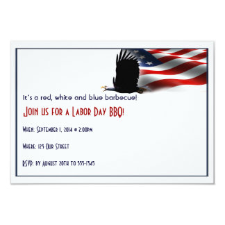 Bald Eagle Flies the Flag Labor Day 3.5x5 Paper Invitation Card