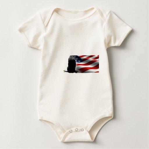 Bald Eagle Flies the Flag Memorial Day Baby Creeper