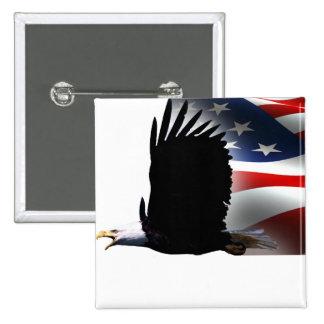 Bald Eagle Flies the Flag Memorial Day Buttons