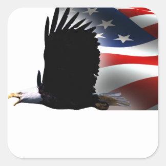 Bald Eagle Flies the Flag Memorial Day Square Sticker