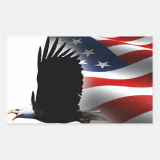 Bald Eagle Flies the Flag Memorial Day Rectangular Stickers