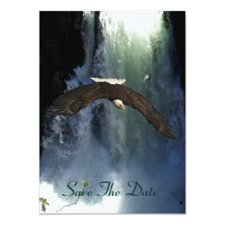 Bald Eagle Flying by Waterfall Invitation Cards