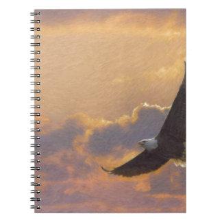 Bald Eagle Flying Spiral Note Books