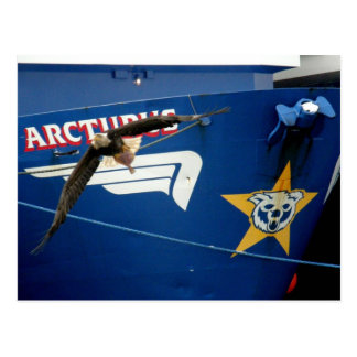 Bald Eagle flying past the F/V Arcturus Postcard