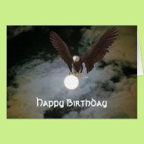 Bald Eagle Full Moon Fantasy Birthday Card