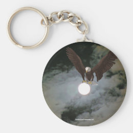 Bald Eagle Full Moon Fantasy Keychain