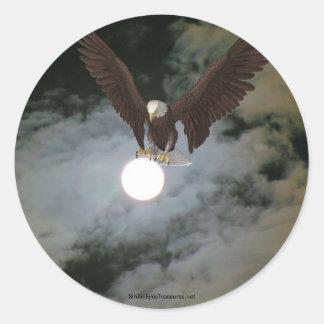 Bald Eagle Full Moon Fantasy Sticker Label