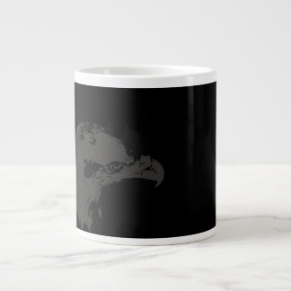bald eagle grey graphical facing right black back. giant coffee mug