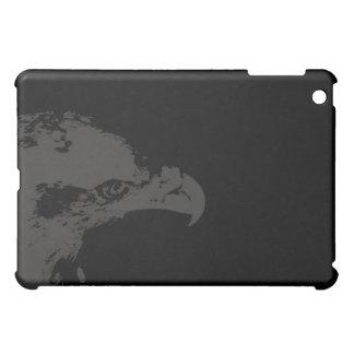 bald eagle grey graphical facing right black back. iPad mini cases