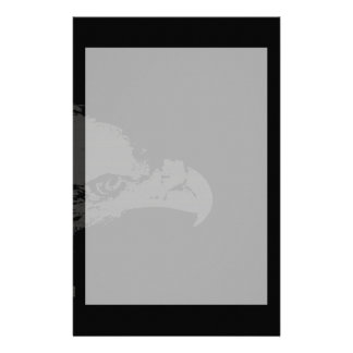 bald eagle grey graphical facing right black back. stationery
