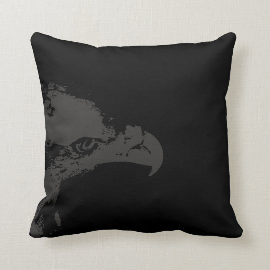 bald eagle grey graphical facing right black back. throw pillow