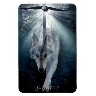Bald Eagle & Grey Wolf Wildlife Art Premium Magnet
