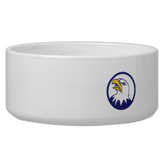 Bald Eagle Head Angry Looking Up Circle Cartoon Bowl