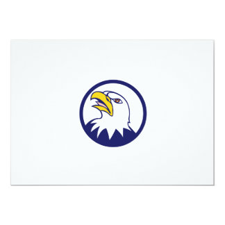 Bald Eagle Head Angry Looking Up Circle Cartoon Card