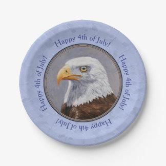 Bald Eagle Head Blue Paper Plate