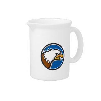 Bald Eagle Head Screaming Circle Retro Pitcher