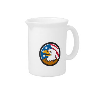 Bald Eagle Head Smiling USA Flag Circle Cartoon Drink Pitcher