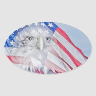 Bald Eagle Head & the American Flag Oval Sticker